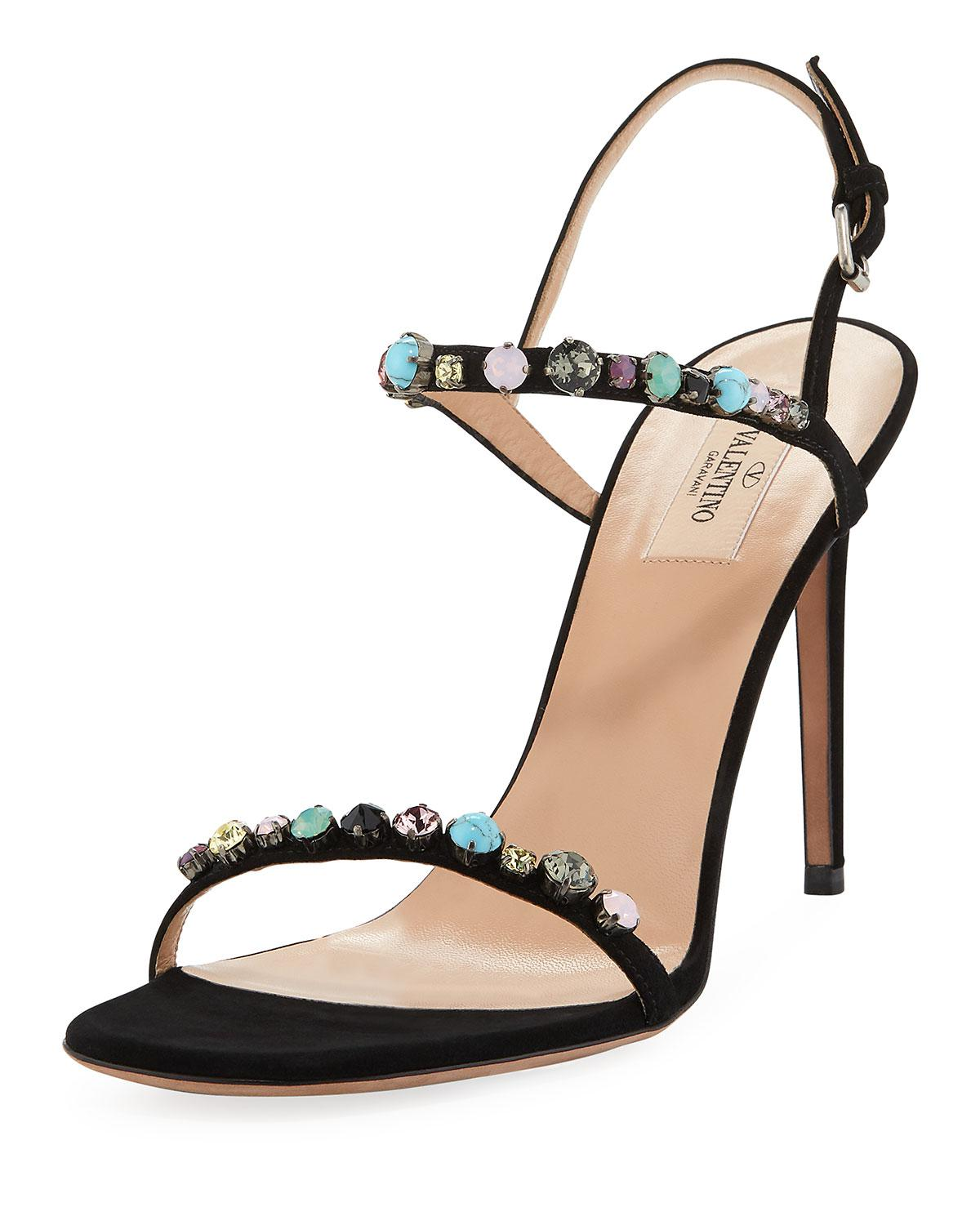 0724cc1dd2bc ... Jeweled Suede Ankle-strap Sandals - Lyst. View fullscreen