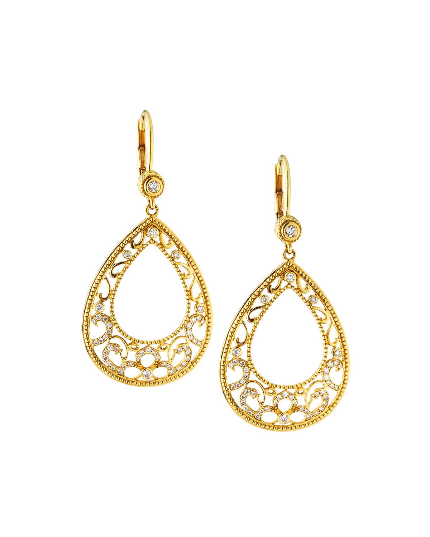 c947960f884e4a Lyst - Penny Preville Large 18k Gold Lacy Open-pear Diamond Drop ...