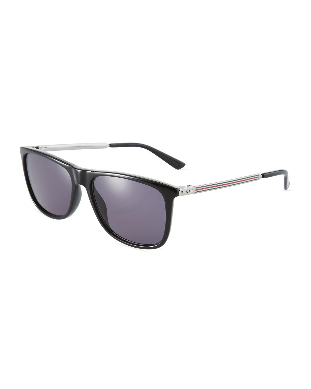 d92b241593 Lyst - Gucci Men s Square Plastic metal Sunglasses in Black for Men