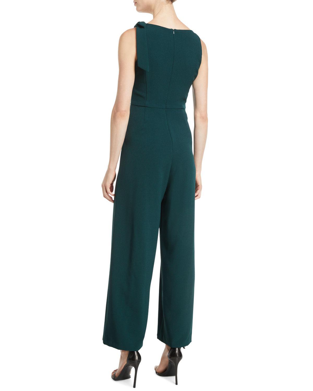 91045f8092a0 Lyst - Julia Jordan Bow-shoulder Wide-leg Jumpsuit in Green