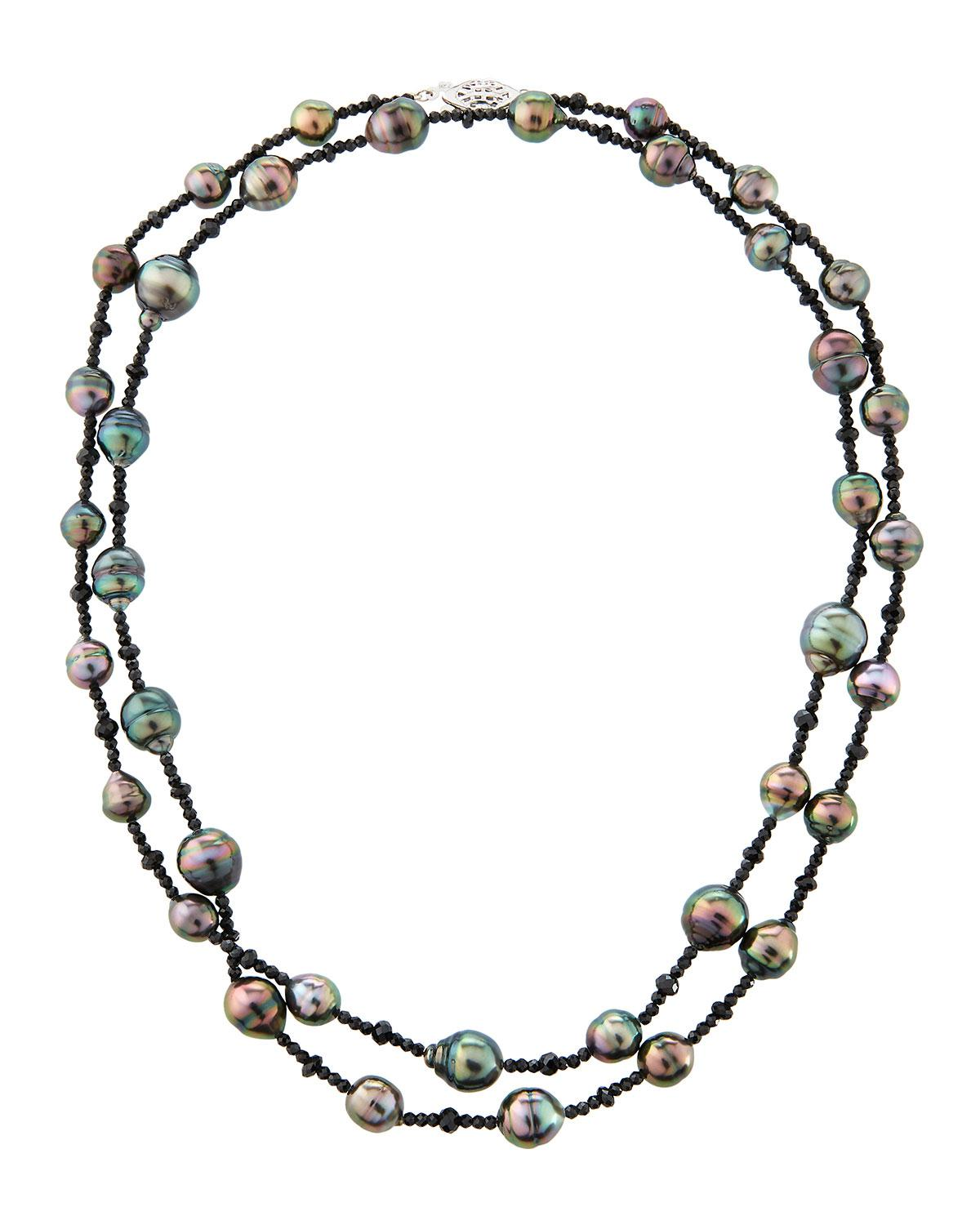 Belpearl 14k Tahitian Pearl & Spinel Necklace M5hz3R