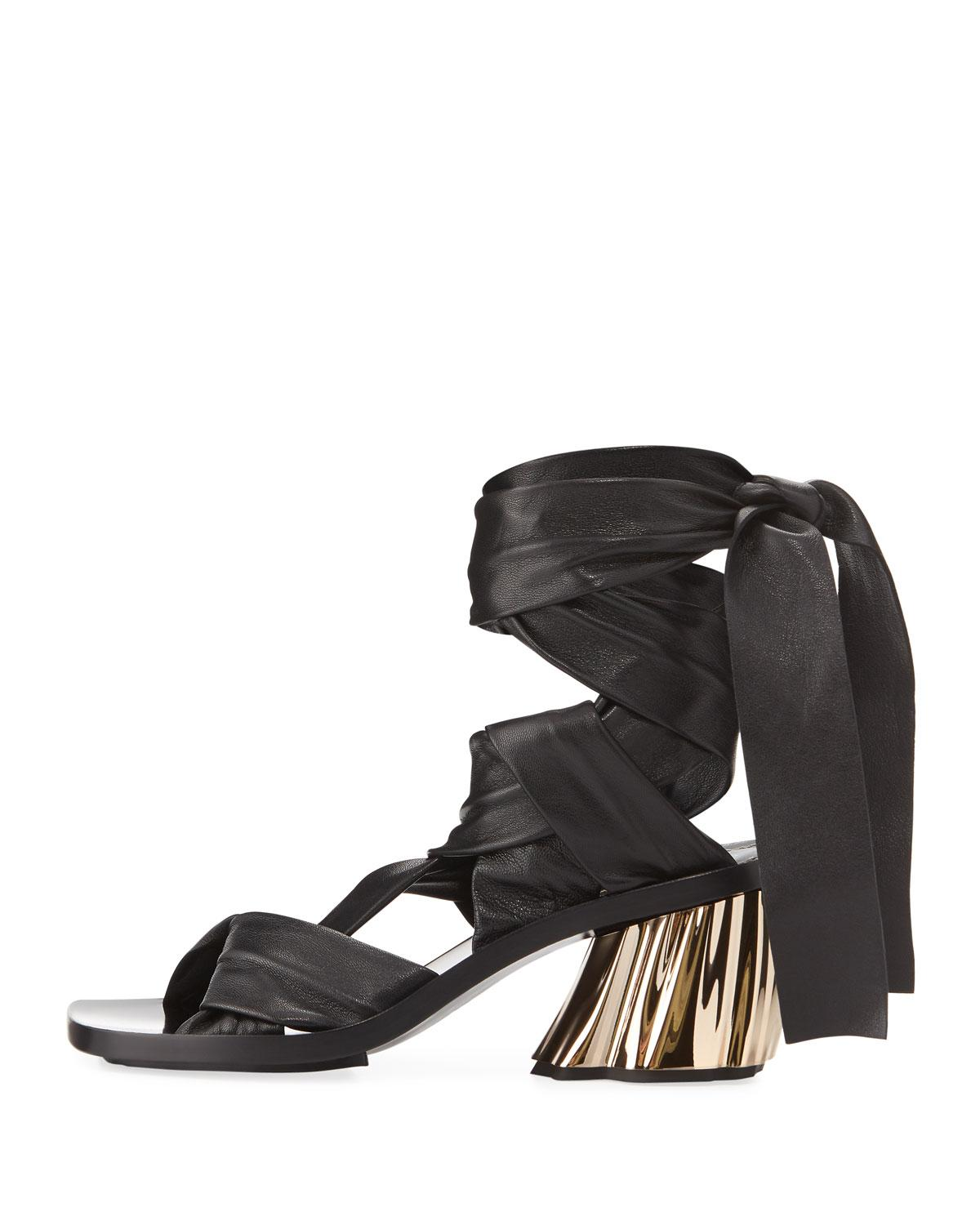 da28f68b2ff90 Lyst - Proenza Schouler Xmm Leather Ankle-wrap Sandal Black in Black