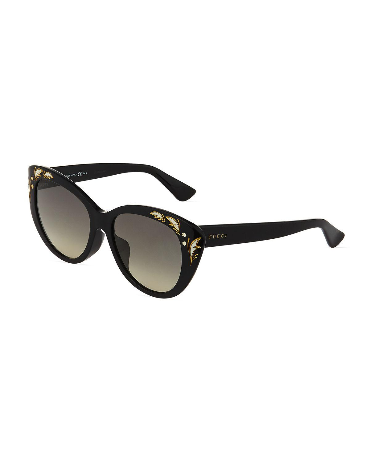 c9cb9cfd589 Lyst - Gucci Embellished Plastic Cat-eye Sunglasses in Black