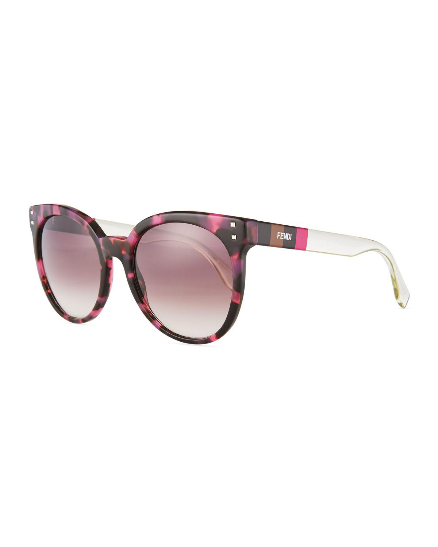 6addfd31fbfc Lyst - Fendi Plastic Round Sunglasses in Brown