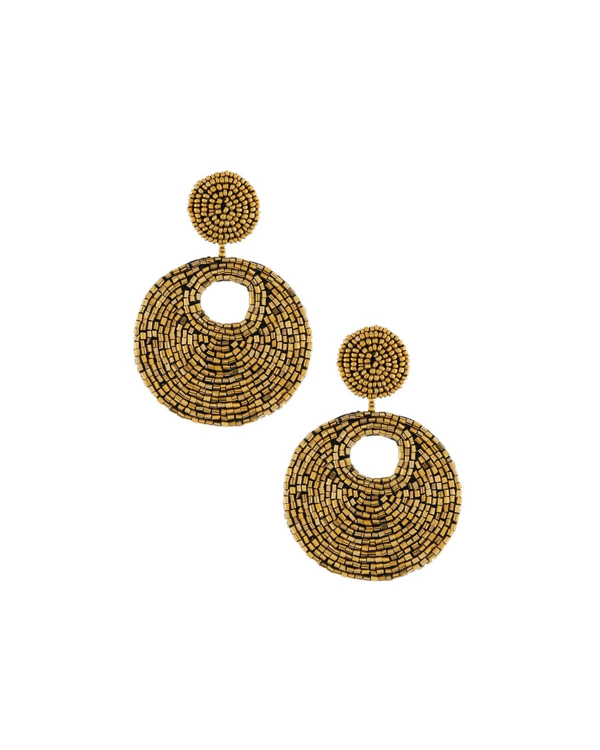 Kenneth Jay Lane Kenneth Jay Lane Woman Gold-tone Beaded Earrings Black Size ONESIZE Eq7C8