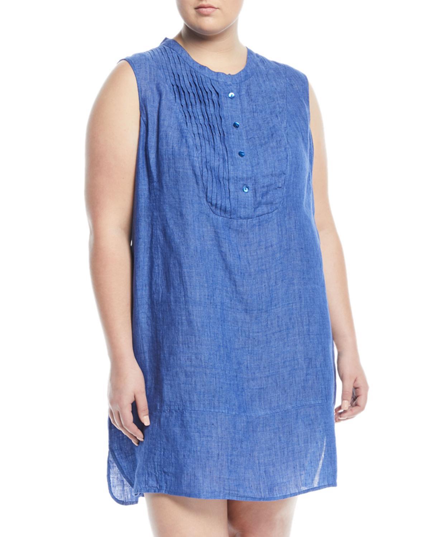 e692f2b6229 Lyst - NIC+ZOE Drifty Linen Tunic Dress Plus Size in Blue