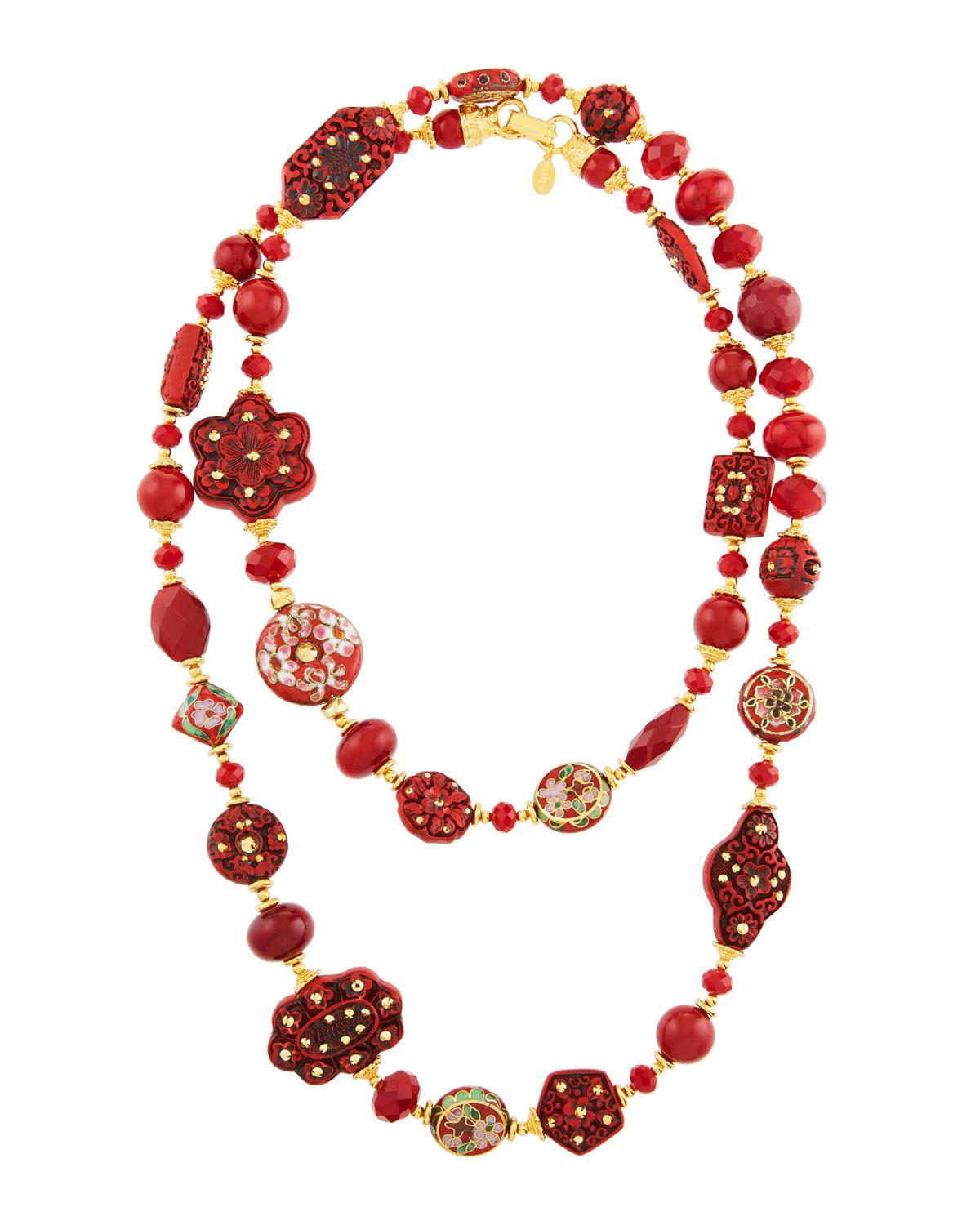 Jose & Maria Barrera Red Glass Beaded Pendant Necklace QdcGxwM5