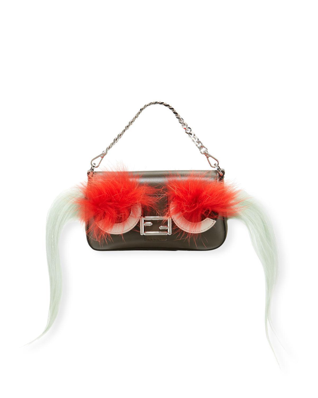 Fendi. Women s Baguette Micro Bag Bugs Crossbody Bag Black red c1bcb8f589