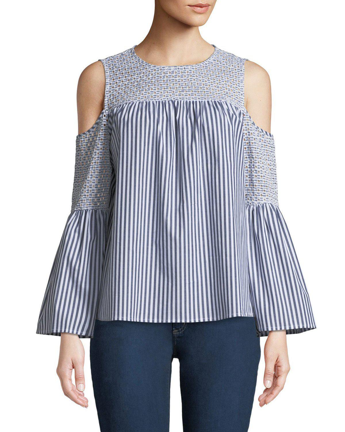 c68fee014ac74 Lyst - MICHAEL Michael Kors Eyelet-embroidered Striped Cold-shoulder ...