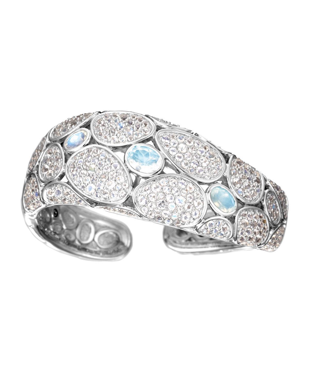 John Hardy Bangle With Rainbow Moonstone And Diamonds Xs White diamond mJ7LIG
