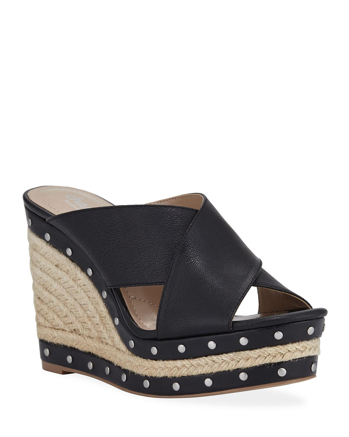 5ab0326b7d99 Charles David. Women s Black Leilani Studded Espadrille Wedge Sandals