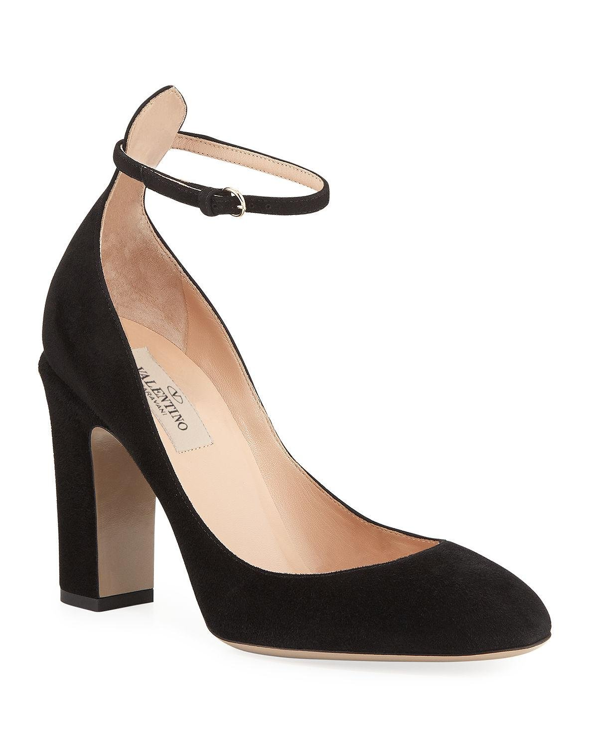 bc1534085e6e Lyst - Valentino Suede Ankle-strap Pumps in Black