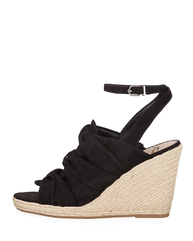 5725767d9 Lyst - Sam Edelman Awan Gathered-suede Espadrille Wedge Sandals in Black