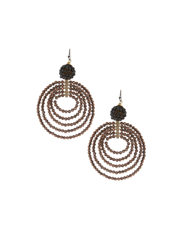 Nakamol Beaded Fringe Double Circle Drop Earrings wEhmrCqjK