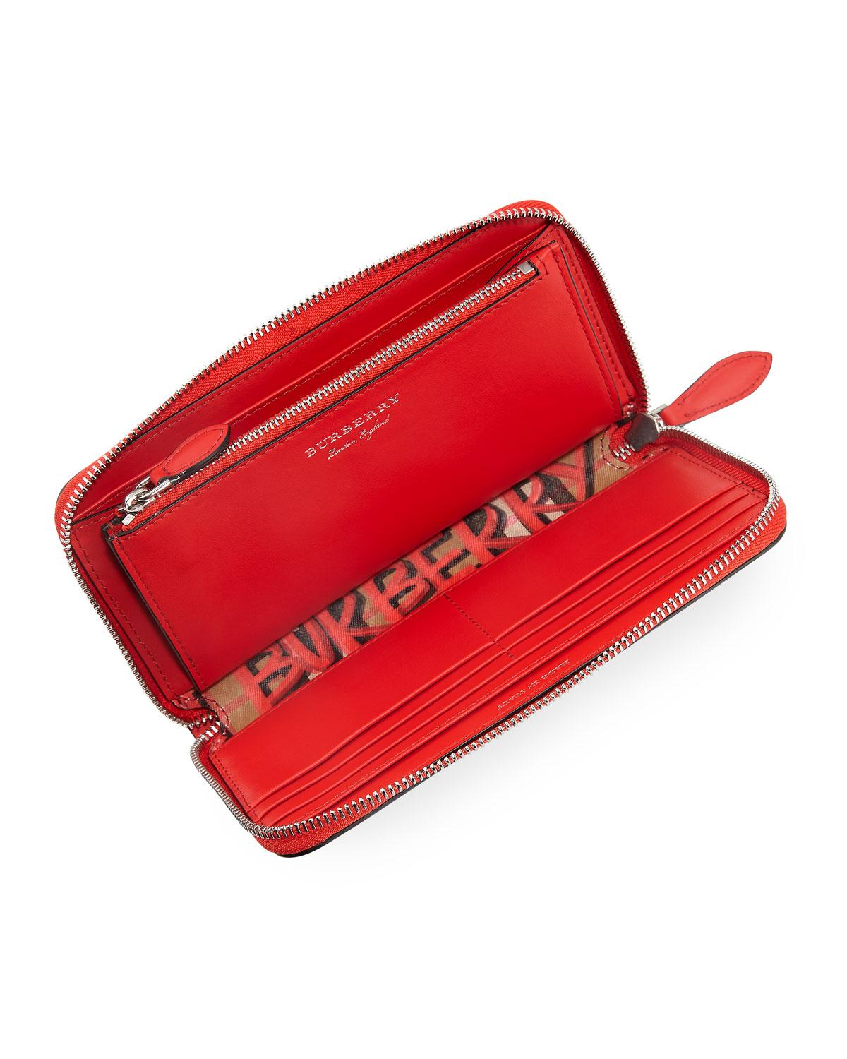 0a05d1c47a0 Lyst - Burberry Graffiti Check Continental Wallet in Red