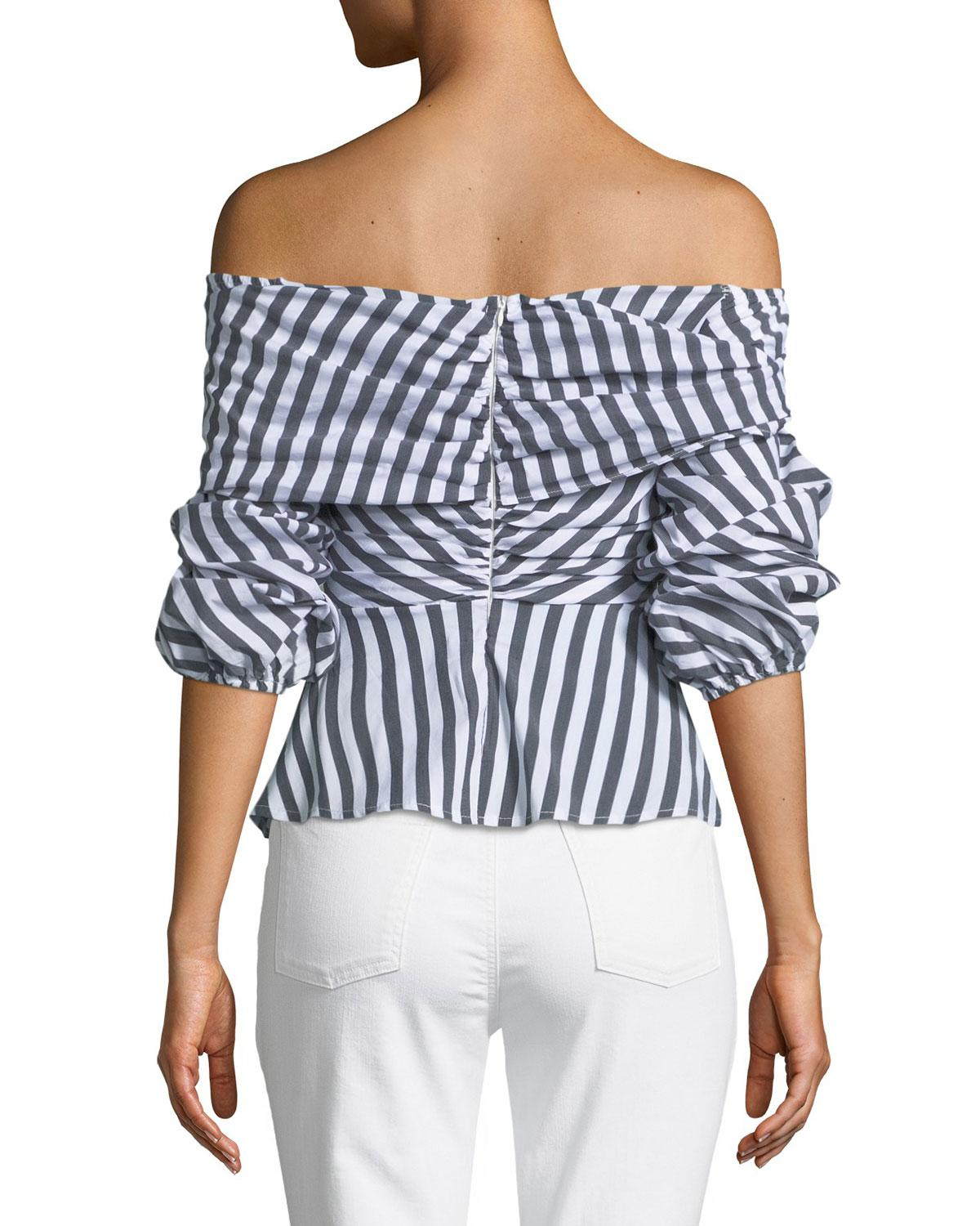 562a2b9d0c5 Haute Rogue Striped Off-the-shoulder Tie-front Top in Black - Lyst