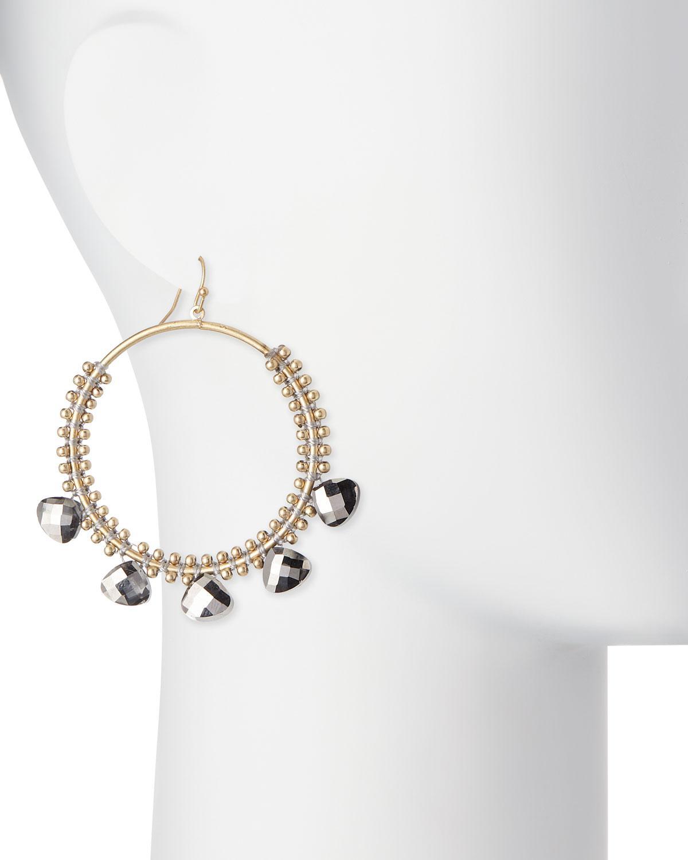 Panacea Hematite Crystal Hoop Earrings jCX4aGbZF