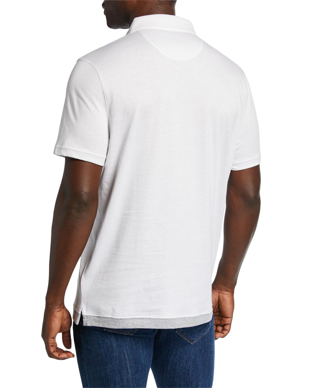 ff46feb0 Lyst - Michael Kors Men's Contrast Hem Cotton Polo Shirt in White for Men