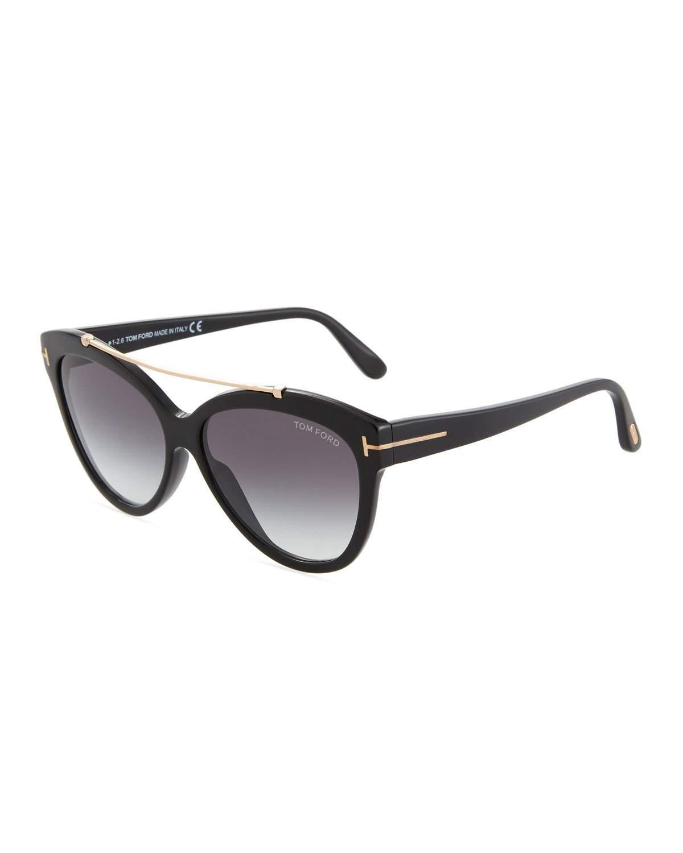 794957a8738c Lyst - Tom Ford Livia Cat-eye Brow-bar Sunglasses in Black