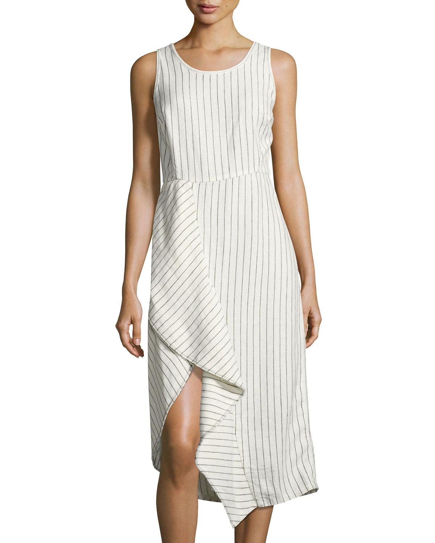 Lyst - Neiman Marcus Pinstriped Scoop-neck Linen Dress in White
