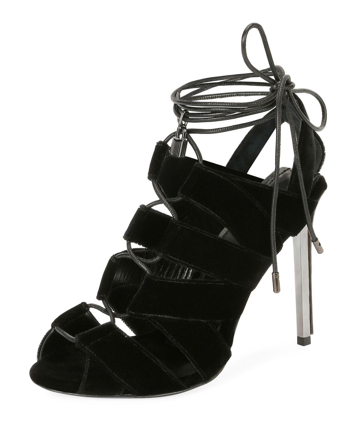 7c8da7353a0a Lyst - Tom Ford Velvet Cutout Lace-up Sandal Black in Black