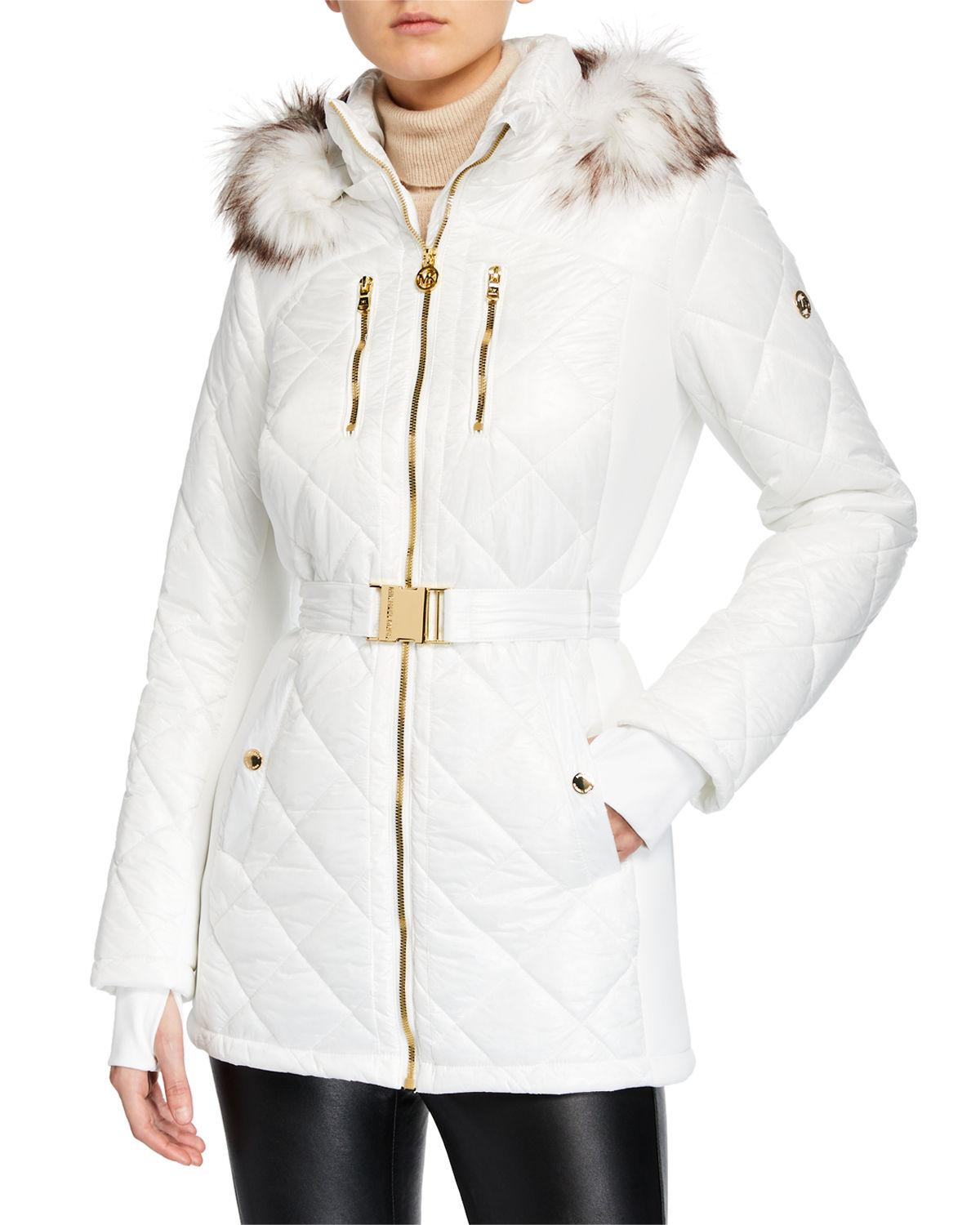 9a392571f4da Lyst - Michael Michael Kors Quilted Faux-down Coat in White