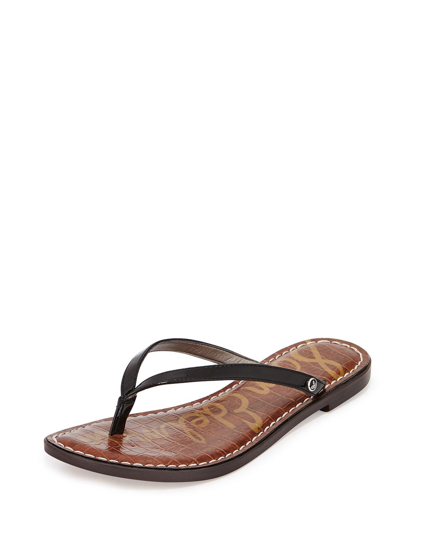 Sam Edelman Gracie Patent Thong Sandal In Brown Lyst