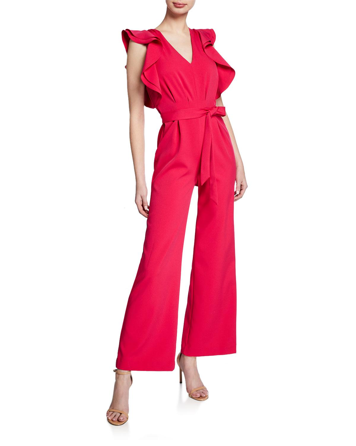 ed2ce0b0ed41 Lyst - Alexia Admor Crepe Jumpsuit With Ruffle-sleeves in Pink