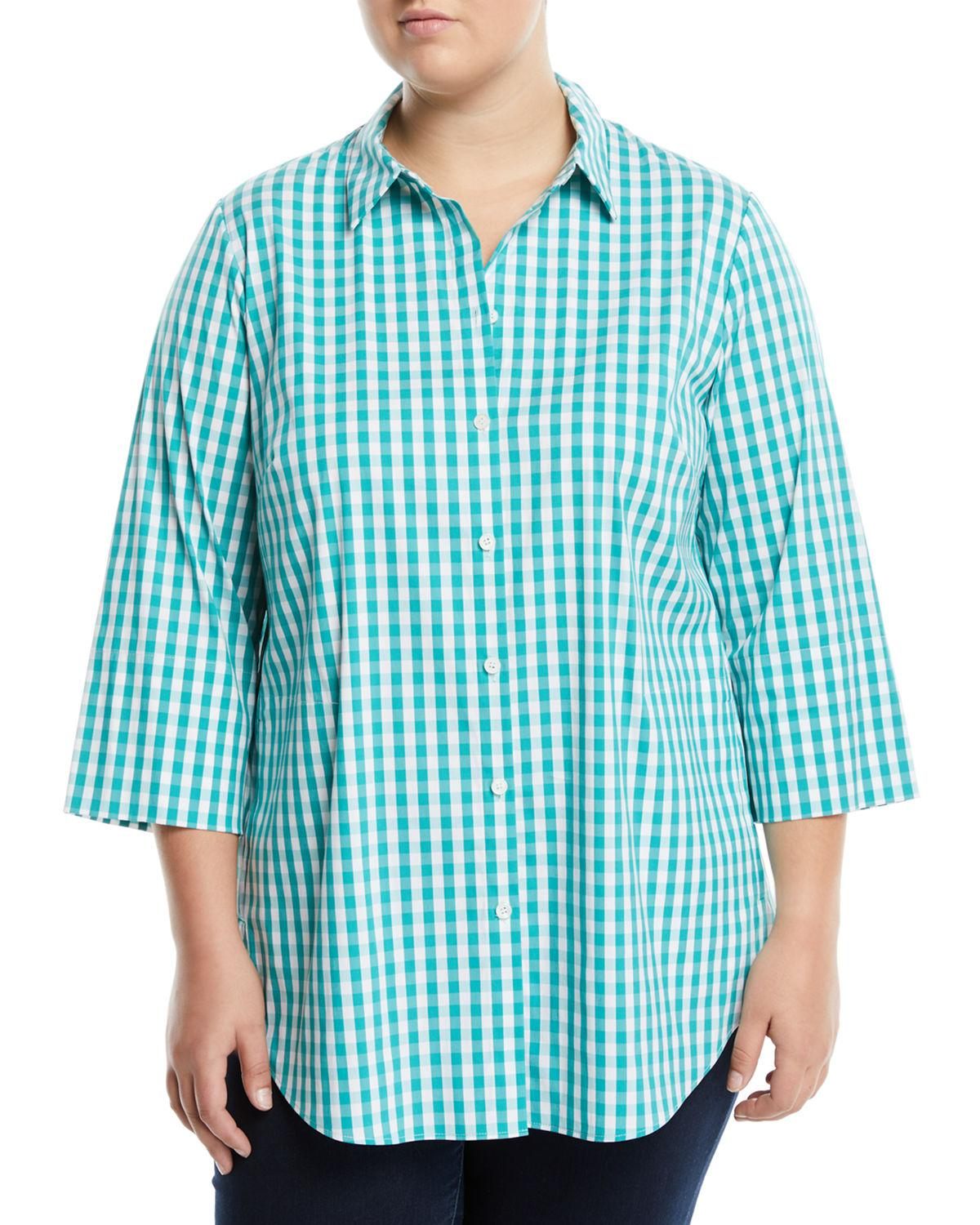 c90edaf81cbb8 Lafayette 148 New York - Blue 3 4-sleeve Button-front Gingham Top. View  fullscreen