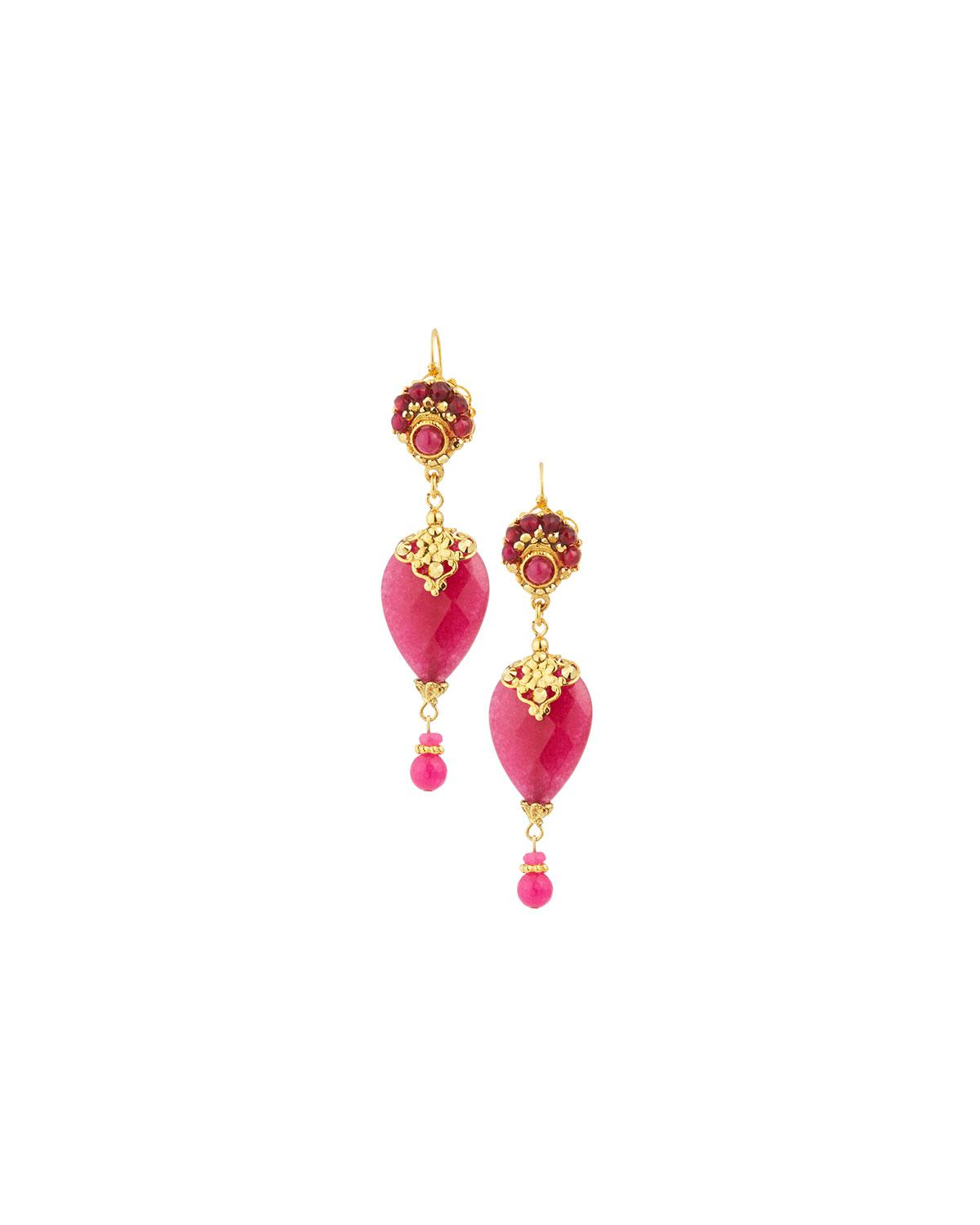Jose & Maria Barrera Agate & Crystal Teardrop Earrings, Pink