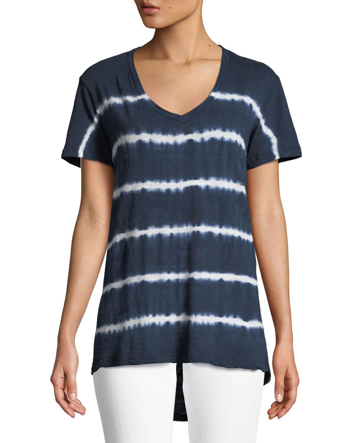 Allen Allen. Women's Blue Tie-dye Striped High-low Tee