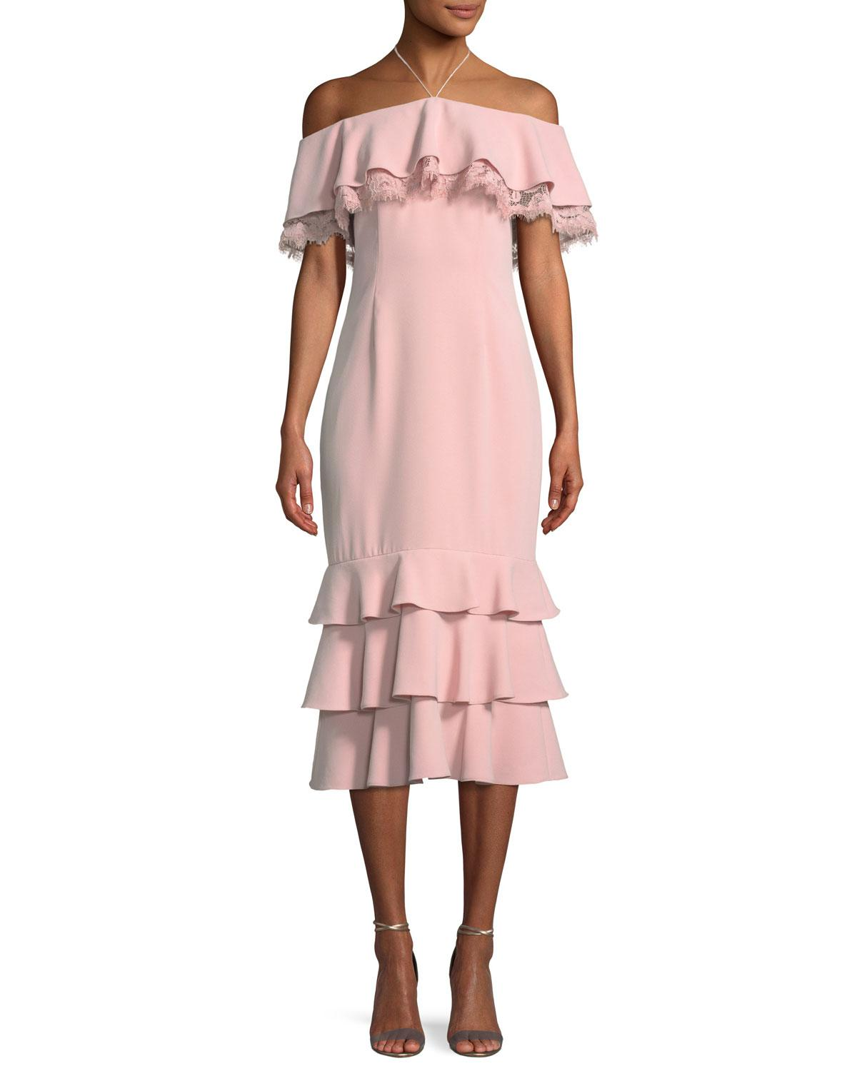 7ea2e2dac14 Lyst - Aidan By Aidan Mattox Crepe And Lace Cocktail Dress in Pink ...