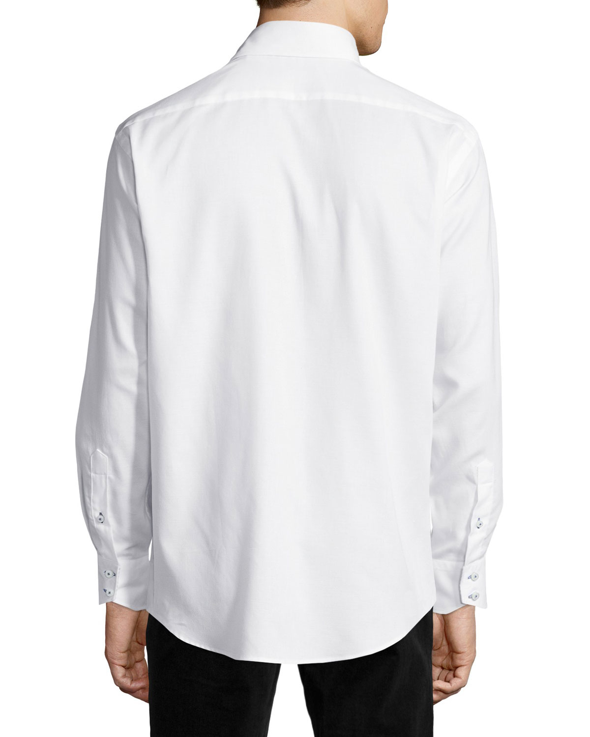 neiman sleeve button front twill shirt in