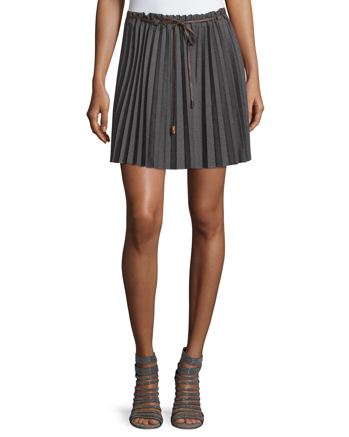 brunello cucinelli drawstring accordion pleated skirt lyst