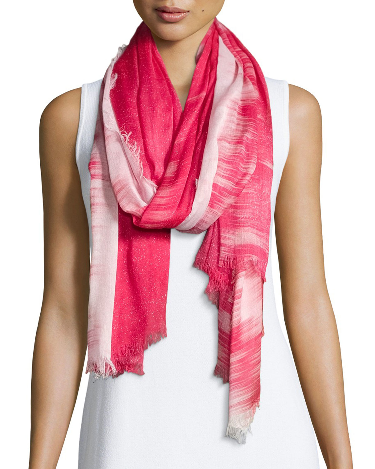 neiman sparkly ombre fringe scarf in coral lyst