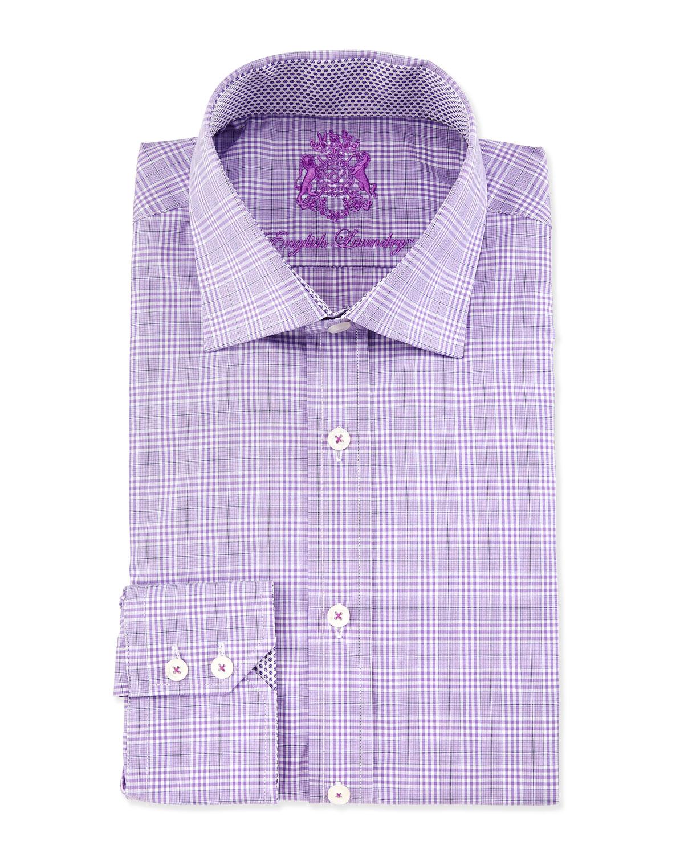 English Laundry Plaid Print Long Sleeve Dress Shirt In