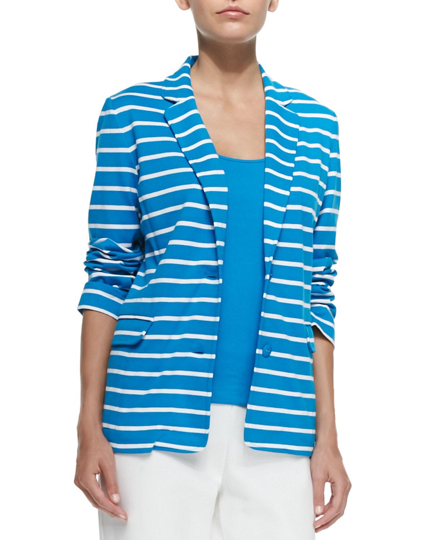 Joan Vass Striped Knit Jacket In Blue