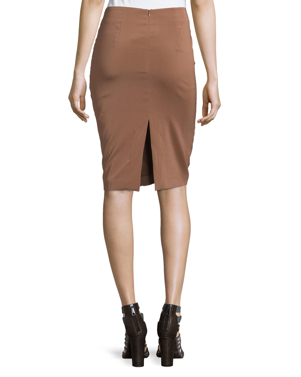 brunello cucinelli pleated pencil skirt in brown lyst