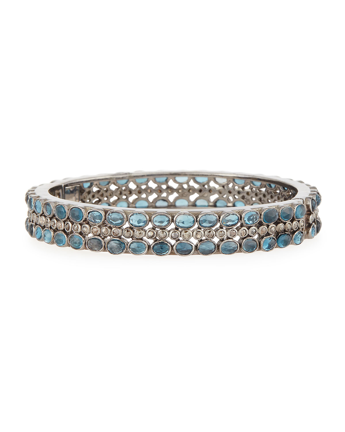 Bavna Slim London Blue Topaz & Diamond Bangle Bracelet OJ9FvqTF