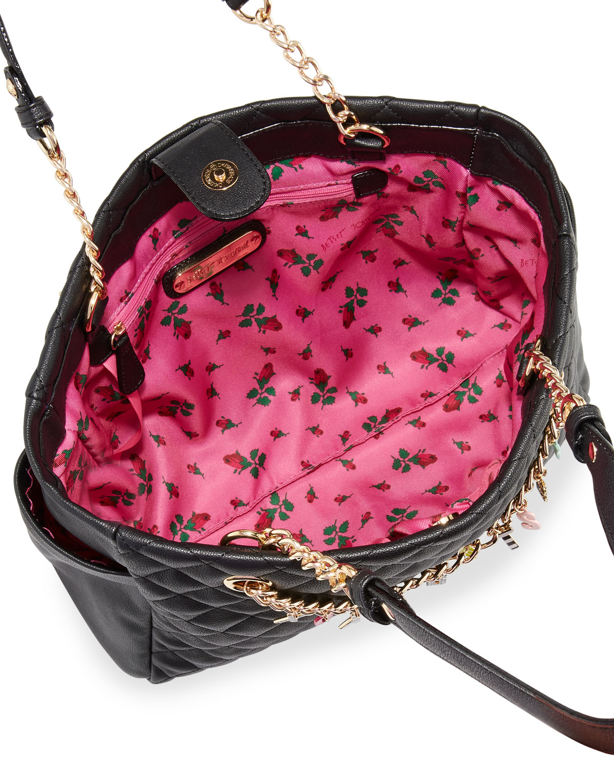 Lyst Betsey Johnson Give Me A B Quilted Satchel Bag In Black