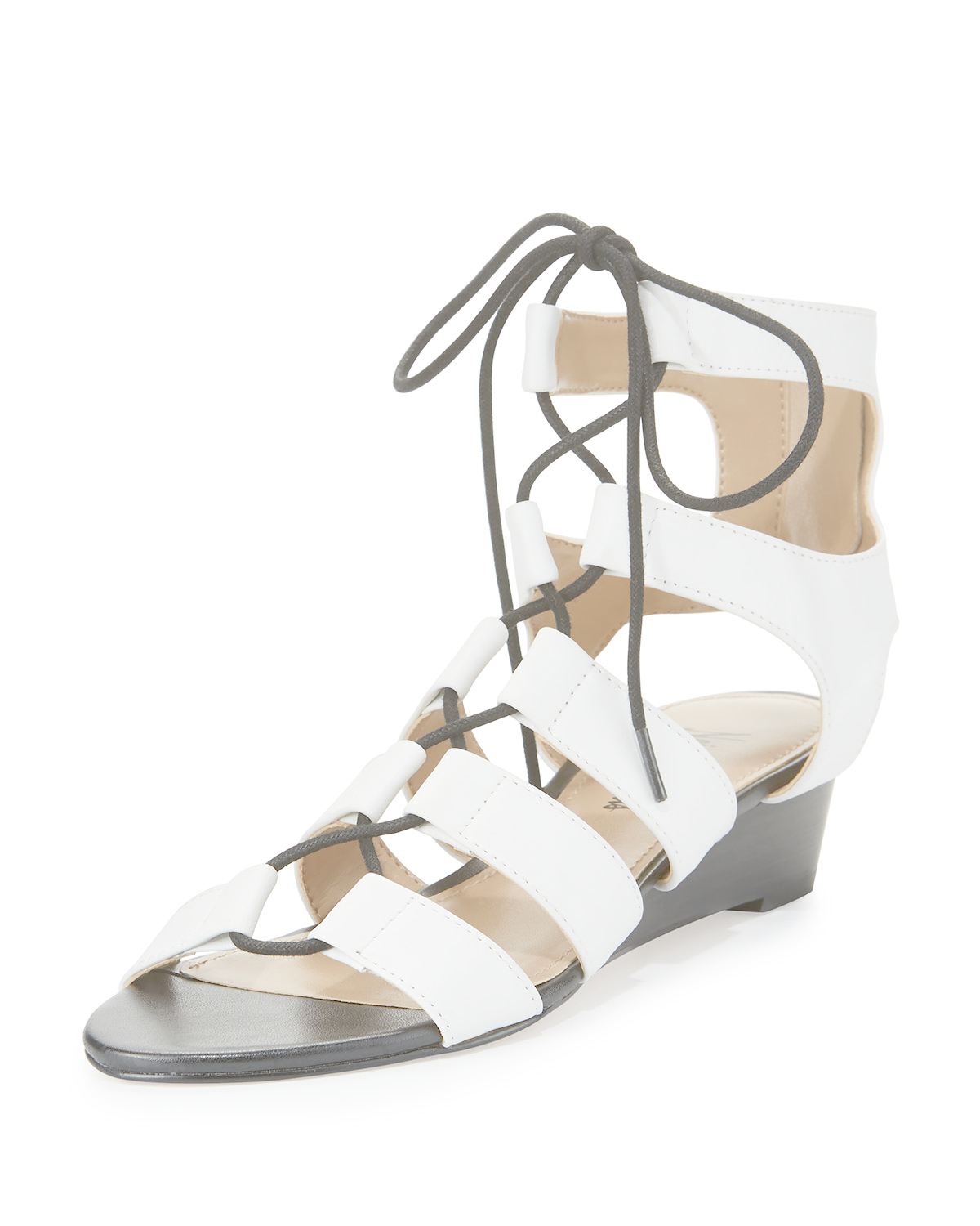 Lyst - Neiman Marcus Wista Leather Lace-up Sandal in White