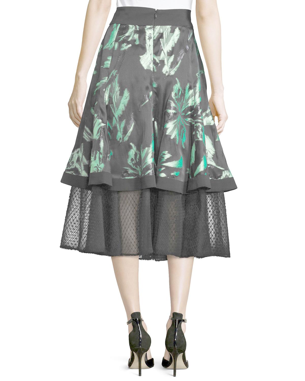 j mendel floral print a line midi skirt in gray lyst