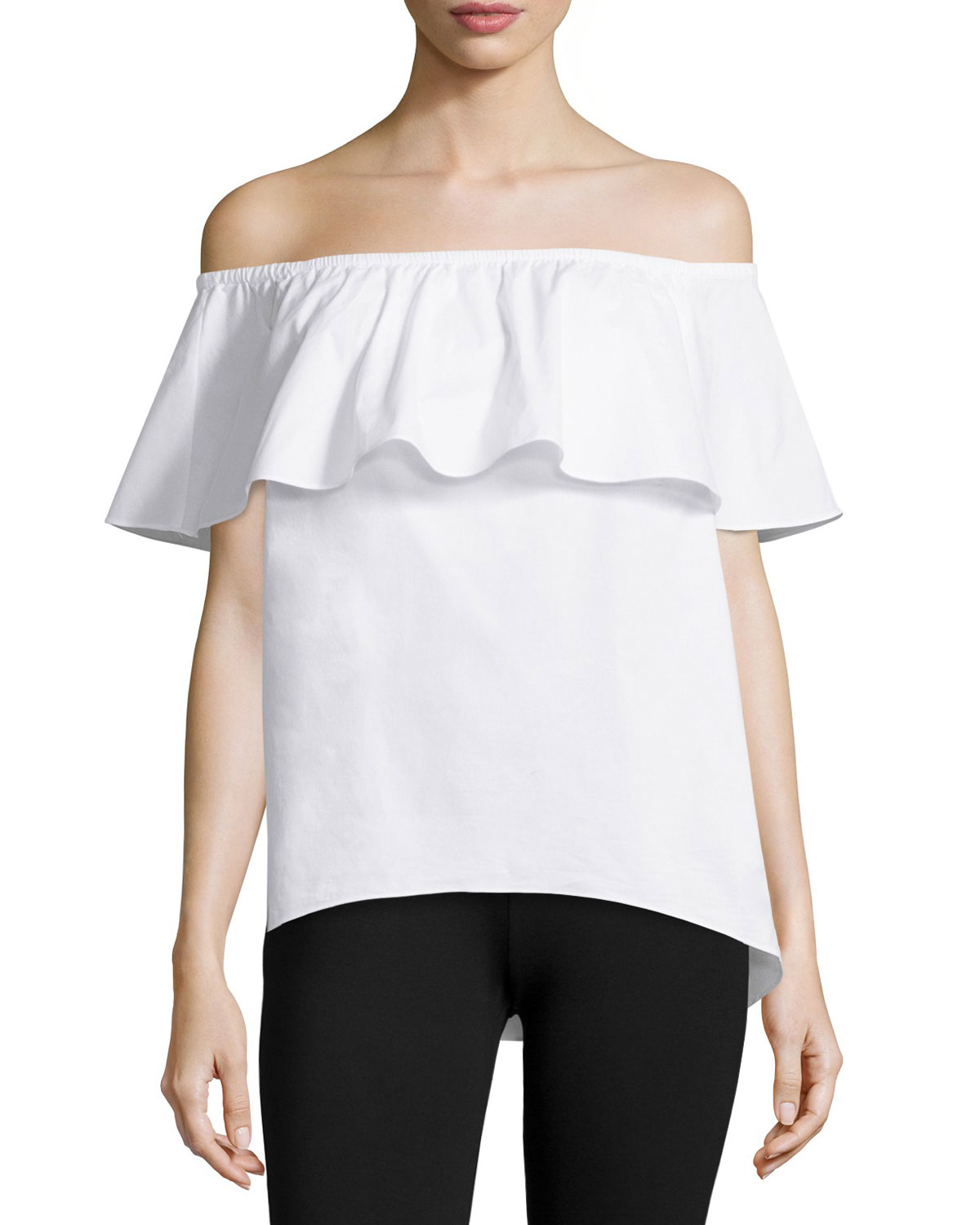 030ea054b1649 Lyst - MICHAEL Michael Kors Off-the-shoulder Ruffle Blouse in White
