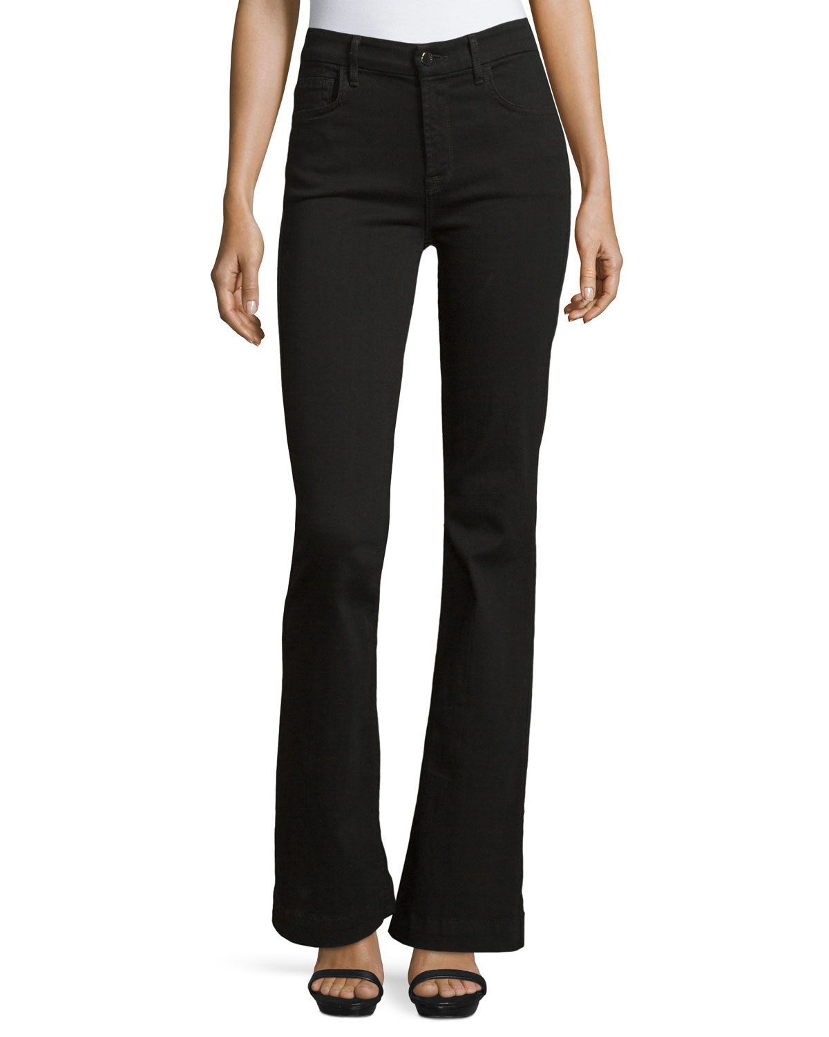 Jen7 Denim Trouser Flare Jeans in Black | Lyst