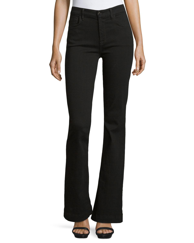 Jen7 Denim Trouser Flare Jeans In Black | Lyst