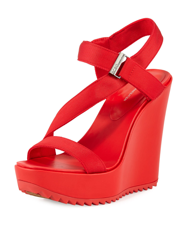 b35ad11d691 Lyst - BCBGeneration Carille Platform Wedge Sandal in Red