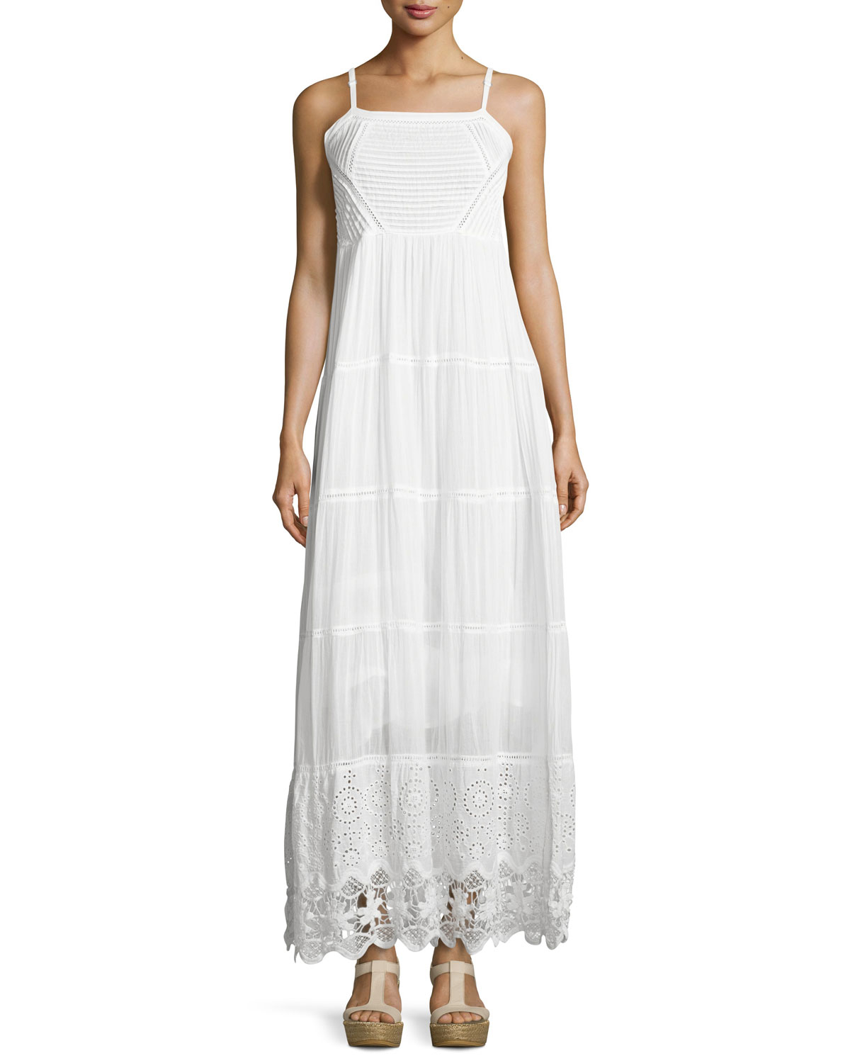 cd28a9470aae Michael Michael Kors Cotton Eyelet Maxi Dress in White , Lyst