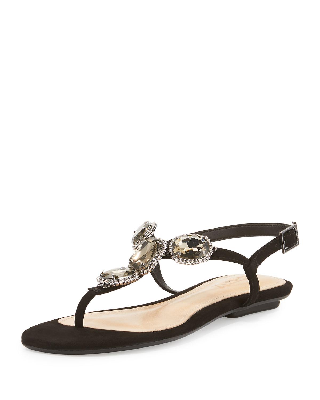 Schutz Suzan Jeweled Flat Sandal in Black | Lyst