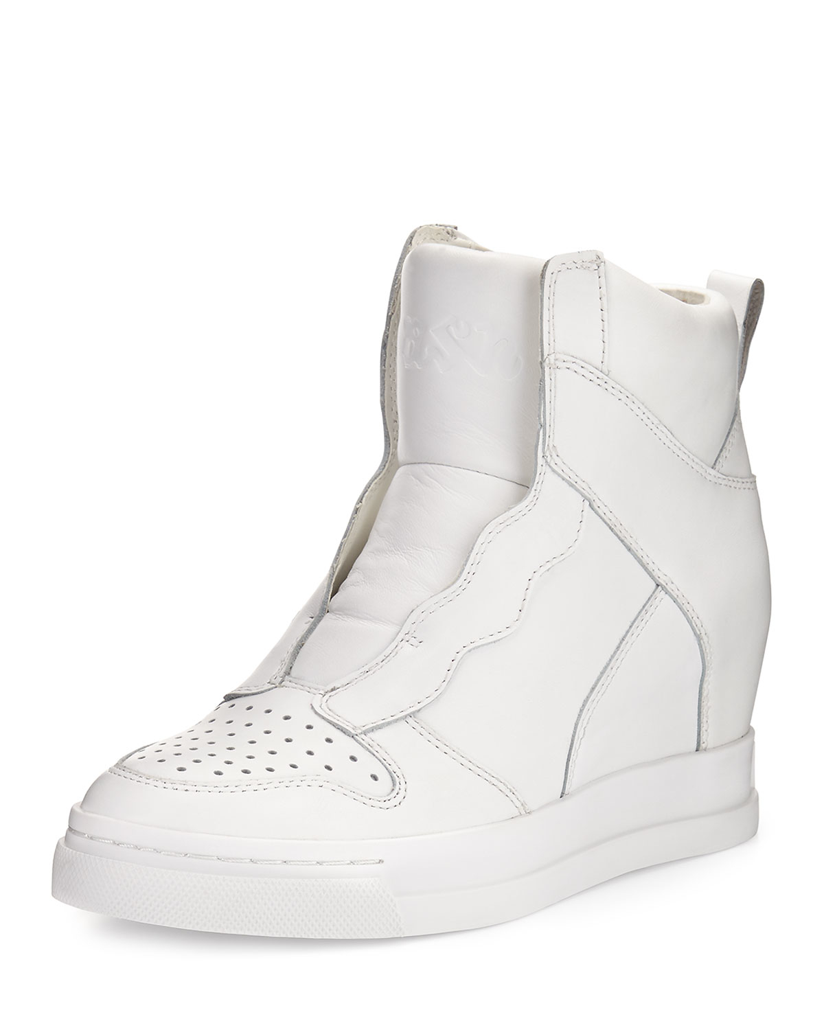 Lyst - Ash Clone Leather Hidden-wedge High-top Sneaker in White d312d6fb1
