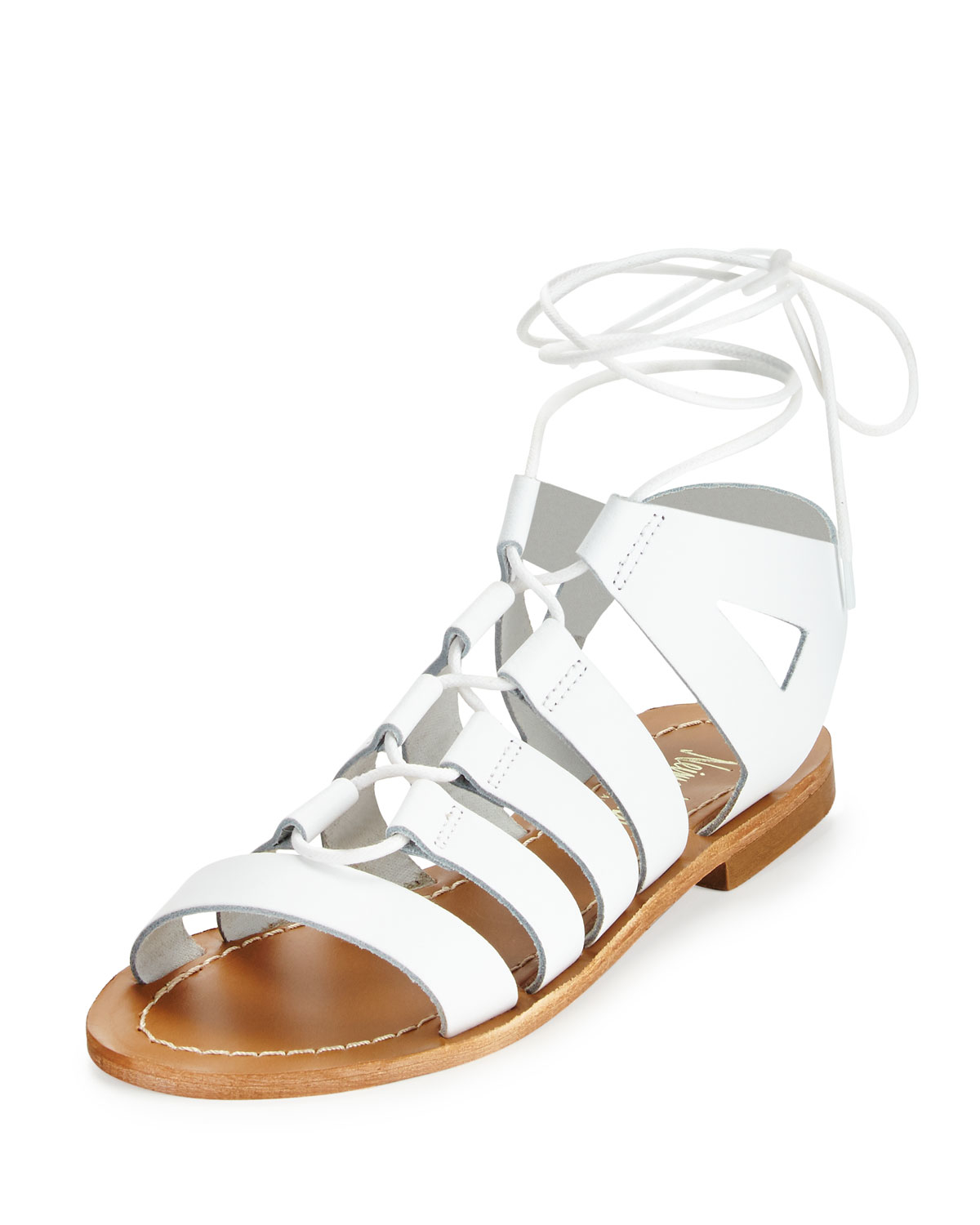 Lyst - Neiman marcus Amorie Leather Lace-up Sandal in White